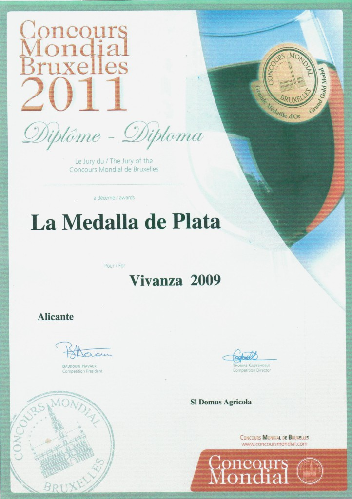 "Winner of the International Exhibition ""Concours Mondial Bruxelles"" – 2011 from awarding a silver medal for red wine aged 12 months in barrel «VIVANZA»."