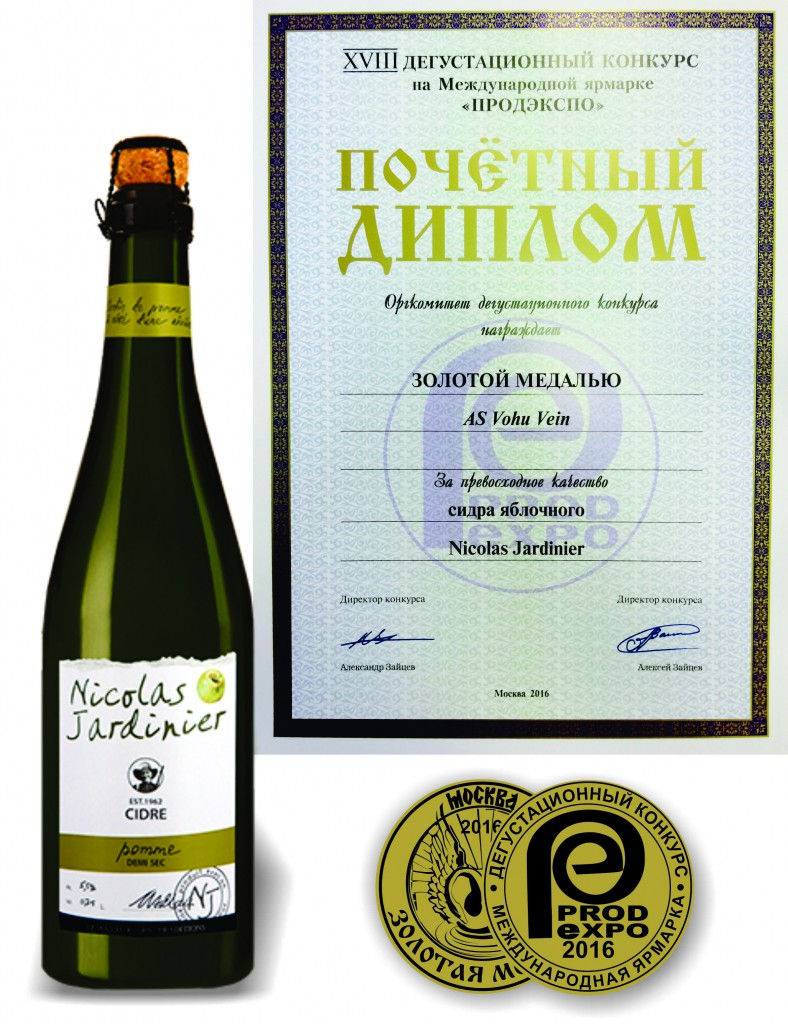"Certificate  of XVIII International Competition of wine and spirits. Apple semi-dry cider ""Nicolas Jardinier""."