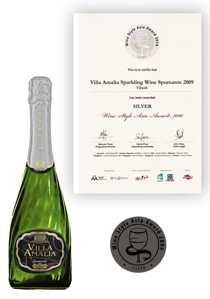 Honorary Diploma and Silver Medal for the excellent quality of sparkling wine Villa Amalia Spumante of the International Wine Style Asia Award 2010.