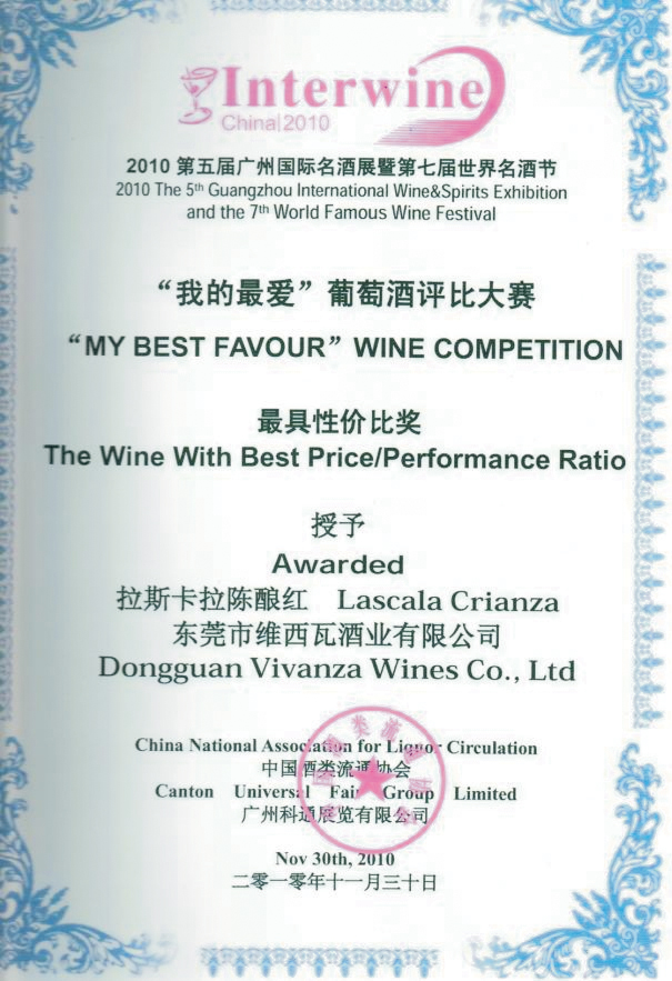 "International competition laureate diploma Interwine 2010 for wine ""Lascala crianza"""