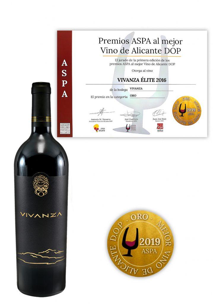 Золотая награда на конкурсе ASPA за лучшие вина Аликанте DOP, 2019 – VIVANZA